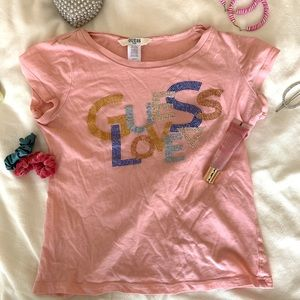Cute pink y2k inspired Guess short sleeve top